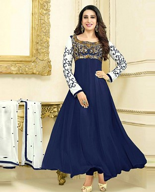 Beautiful Latest Hot Karishma Kapoor Blue Anarkali Suit @ Rs1081.00