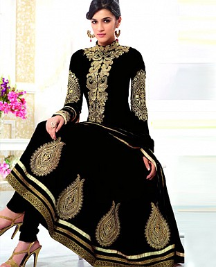 kirti black heavy embroidared anarkali suit @ Rs1297.00