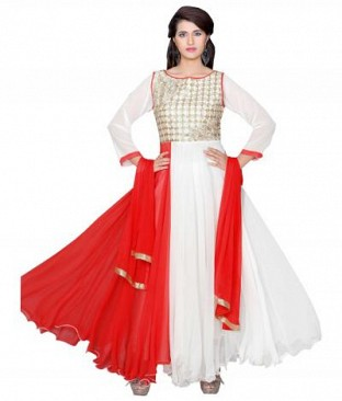 782301-Red And White party were anarkali suit @ Rs988.00