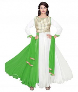 782302-Green And White party were anarkali suit @ Rs988.00