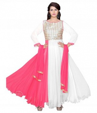 782303-Pink And White party were anarkali suit @ Rs988.00