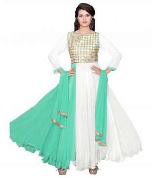 782304-Dark aqvaGreen And White party were anarkali suit @ Rs988.00