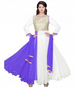 782307-Purpel And White party were anarkali suit @ Rs988.00