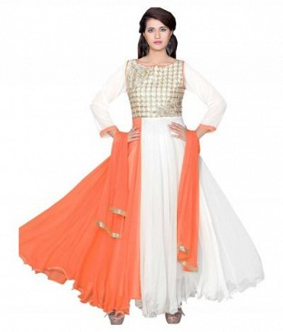 782308-Orange And White party were anarkali suit @ Rs988.00