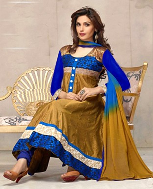stylish golden yellow with blue anarkali salwar suit @ Rs1029.00