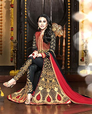 vandv Dark Black & Maroon Georgette Designer Anarkali Suit Buy Rs.1742.00