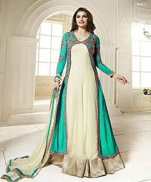 DESIGNER AQUA AND OFF WHITE ANARKALI SUIT @ Rs2039.00