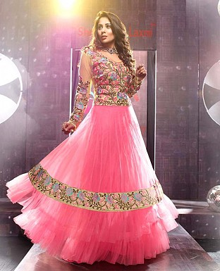 New Fancy Beautifull Pink color Embroidred designer Anarkali suite @ Rs1482.00