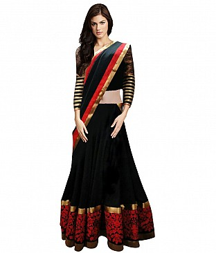 Sanjwega Collection Black Faux Georgette Embroidered Semi Stitched Lahengas For Women @ Rs2055.00