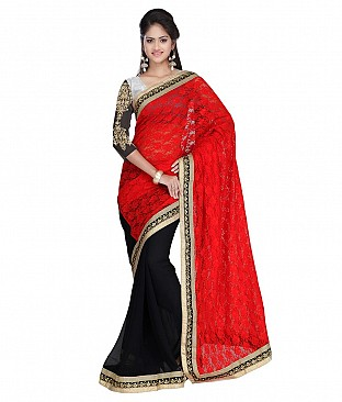 Style Sensus Red Brasso Saree @ Rs2472.00
