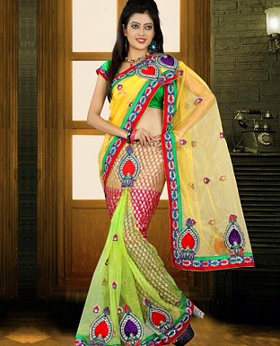Heavy Embroidered Brasso Lehenga Saree with Net Pallu @ Rs2009.00