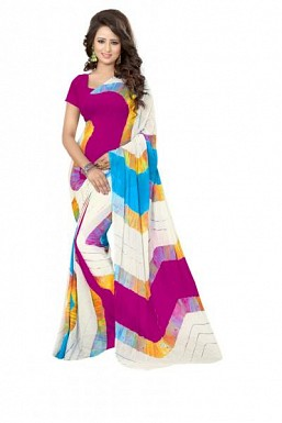 New White & Pink Printed Heavy Nazneen Casual Saree @ Rs988.00