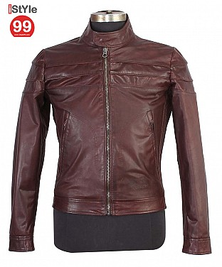 Gents Brown Leather Jacket @ Rs6587.00