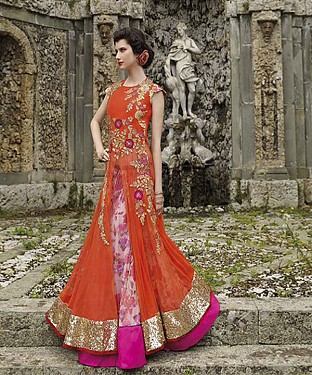 New Attractive Orange Anarkali Suit @ Rs3460.00