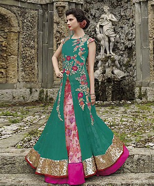 New Attractive Green Anarkali Suit @ Rs3460.00