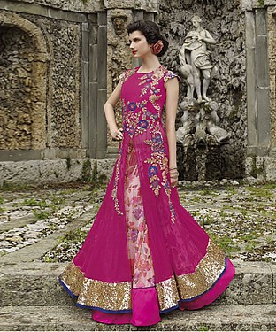 New Attractive Pink Anarkali Suit @ Rs3460.00