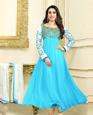 Stylis Cyan Designe Anarkali Salwar Suits @ Rs1081.00