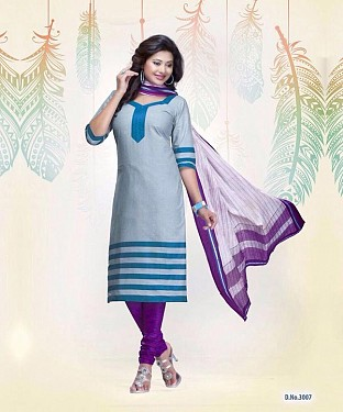 New Sky Blue Cotton Printed Un-stitched Salwar Suits@ Rs.1235.00