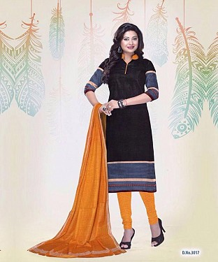 New Black Cotton Printed Un-stitched Salwar Suits @ Rs1235.00
