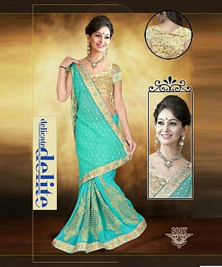 Sky & Golden Sarees @ Rs1853.00