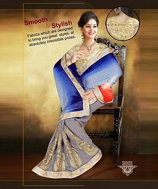 Blue & Gray Sarees Buy Rs.1853.00