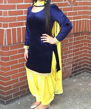 Velvet Blue and Yellow Simple Patiala Salwar Suit Material @ Rs741.00
