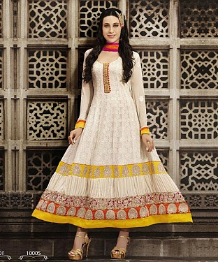 Karishma Kapoor Latest Designer Cream Georgette Anarkali Suit@ Rs.1297.00