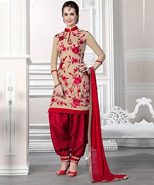 Cream And Red Cotton Patiala Suit Collection @ Rs741.00