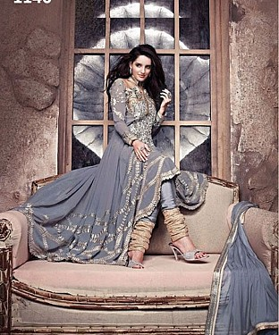 Beautiful grey Embroidery Designer Salwar Suit@ Rs.1235.00