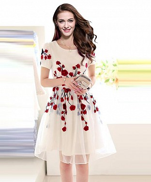 Designer Latest White & Red Colour Semi Stitched Western Wear @ Rs464.00