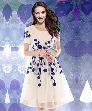Designer Latest White & Blue Colour Semi Stitched Western Wear@ Rs.557.00