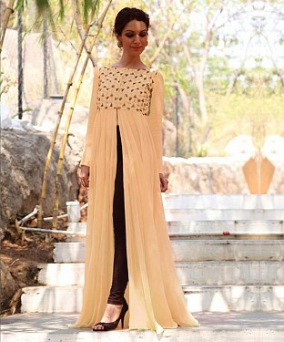 Latest Peach Colour Semi Stitched Embroidered Designer Kurti Buy Rs.588.00