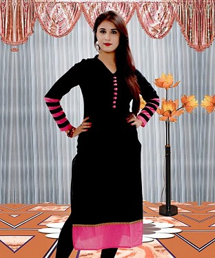Latest Black Designer Fashion According Cotton Kurti Buy Online @ Rs432.00