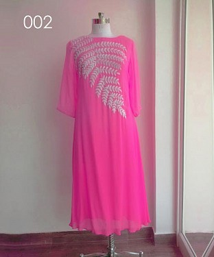 Designer Pink Colour Georgette Embroidered Kurti @ Rs432.00