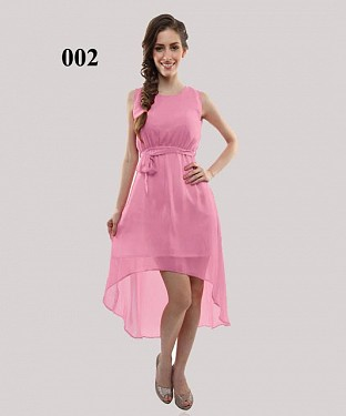 Baby Pink Georgette Casual Semi-Stitched Kurti @ Rs555.00