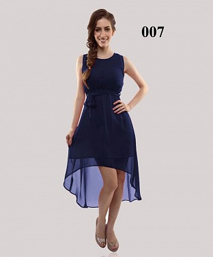New Design Navy Blue Georgette Semi-stitched Kurti @ Rs649.00