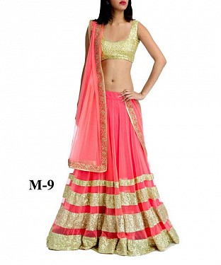 Marvellous Peach & Golden Net Lehenga Choli@ Rs.741.00