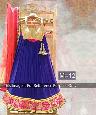 Blue & Peach Designer Georgette Lehenga Choli@ Rs.864.00