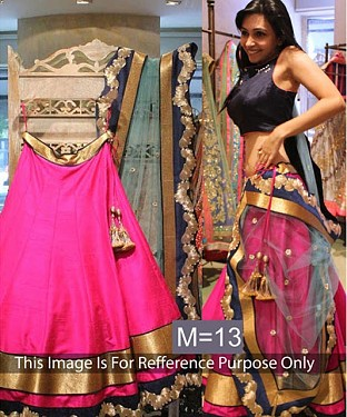 Raw Silk Latest Fuchsia Pink Lehenga Choli @ Rs1113.00