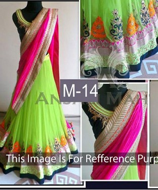 Parrot And Pink Slik Georgette Lehenga Choli@ Rs.1484.00