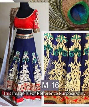 blue and red Georgette Lehenga Choli@ Rs.1236.00