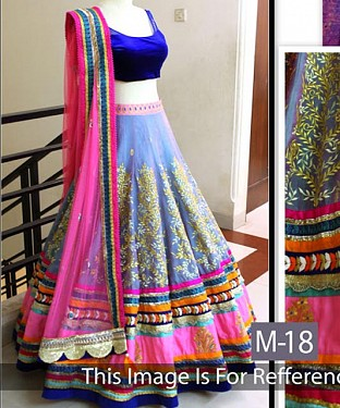 Pink And Purple Satin And Dupion Embroidered Bridal Lehenga Choli @ Rs3090.00