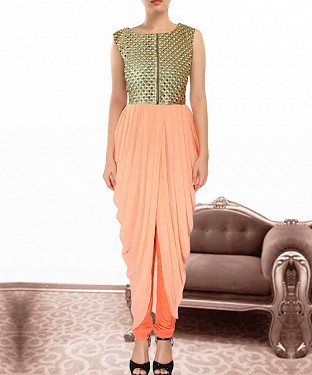Peach Indian Kameez Dhoti Style @ Rs864.00