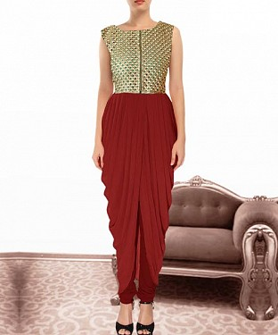 Maroon Indian Kameez Dhoti Style@ Rs.864.00