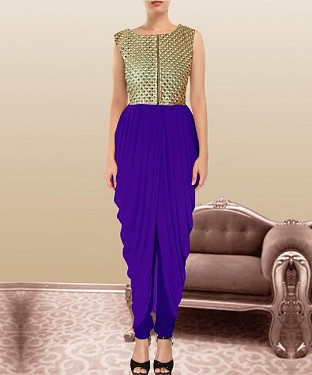 Blue Indian Kameez Dhoti Style @ Rs864.00