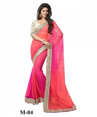 Pink & Orange Chiffon Saree@ Rs.742.00