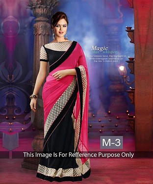 Black & Pink Georgette Saree @ Rs927.00