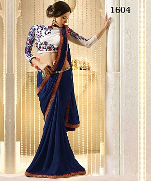 Blue Satin, Chiffon Saree @ Rs903.00