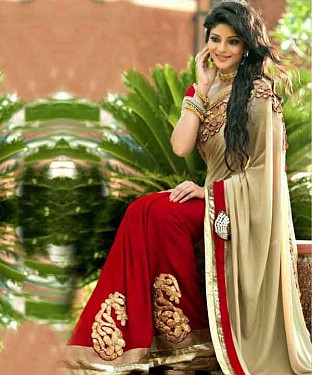 Lady Fashion Villa coral & red designer salwar suit @ Rs929.00