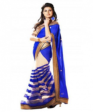 Lady Fashion Villa sky blue designer sarees @ Rs835.00